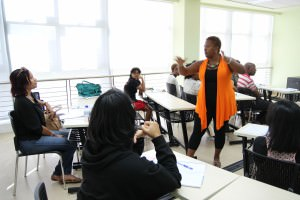 Tanya Shirley teaches a Poetry in Progress workshop at the 2014 NGC Bocas Lit Fest South. Photo © Mickel Alexander.